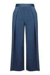 Topshop Cropped Wide Leg Trousers Navy Blue