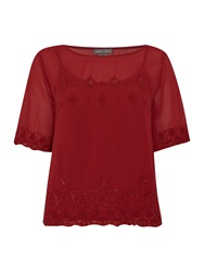 Vince Camuto Short Sleeve Beaded Top Red