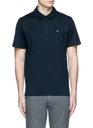 Rag And Bone 'Standard Issue' Cotton Blend Jersey Polo Shirt Blue