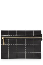 Victoria Beckham Small Zip Leather Clutch Black