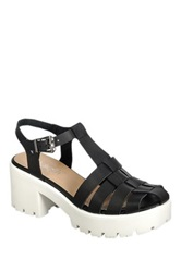 Refresh Citrus Woven Platform Sandal Black