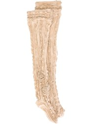 Ryan Lo Thigh High Ruffle Rib Socks Nude And Neutrals