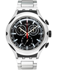 Swatch Unisex Swiss Chronograph Black Energy Silver Tone Aluminum Bracelet Watch 44Mm Yys4000ag
