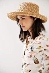 Urban Outfitters Textured Straw Turned Up Sun Hat Tan
