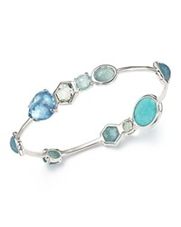 Ippolita Sterling Silver Rock Candy Semi Precious Multi Stone Doublet Bangle Bracelet In Light Blue Blue Silver