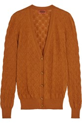 Missoni Crochet Knit Cashmere And Silk Blend Cardigan Brown