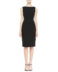 Lela Rose Sleeveless Boat Neck Sheath Dress Black Black 6