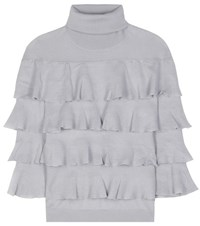 Valentino Ruffled Turtleneck Virgin Wool Sweater Grey