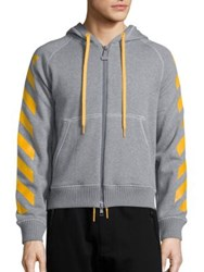 Moncler O Striped Zip Front Hoodie Black Dark Grey
