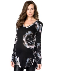 A Pea In The Pod Maternity Floral Print High Low Tunic Top