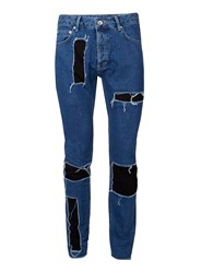 Topman Aaa Mid Wash Blue Patched Skinny Jeans
