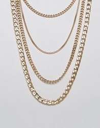 New Look Layered Chain Necklace Gold
