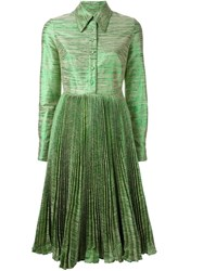 Manoush Pleated Melange Shirt Dress Green