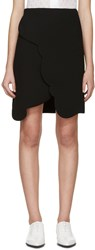 Carven Black Scalloped Wrap Miniskirt