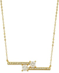 Eliot Danori Gold Tone Crystal Bypass Bar Pendant Necklace