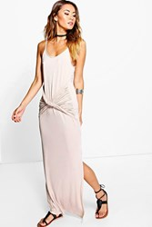 Boohoo Strappy Knot Front Maxi Dress Sand