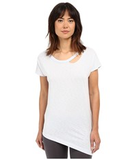 Yummie Tummie Jersey Slub Dropped Neckline Cut Out Tee Plein Air Women's T Shirt Blue