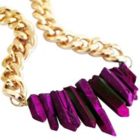 Shh By Sadie Rocked Up Crystal Quartz Necklace Purple