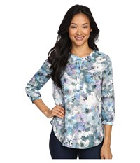 Nydj Petite Solid 3 4 Sleeve Pleat Back Winter Front Petals Women's Long Sleeve Pullover Multi