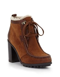 Sam Edelman Madge Suede Sherpa Lined Lug Sole Ankle Boots Brown