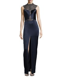 Catherine Deane Filia Sleeveless Beaded Sheer Back Column Gown Women's