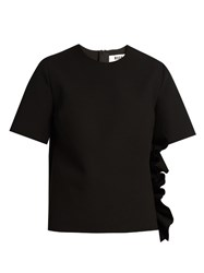 Msgm Ruffled Crepe Top Black
