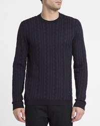 Armani Collezioni Navy Cable Knit Round Neck Sweater Blue