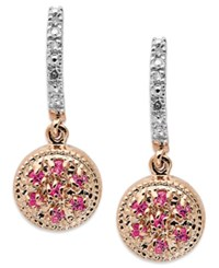 Macy's 14K Rose Gold Earrings Pink Sapphire 3 4 Ct. T.W. And Diamond Accent Round Drop Earrings