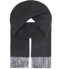 Johnstons Double Face Cashmere Scarf Charcoal Blue