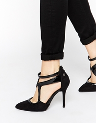 Blink Asymmetric Strap Detail Heeled Shoes Black