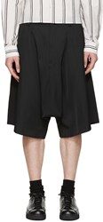 Comme Des Garcons Black Satin Pleated Shorts
