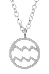 Kris Nations Sterling Silver Plated Zodiac Circle Pendant Charm Necklace Metallic