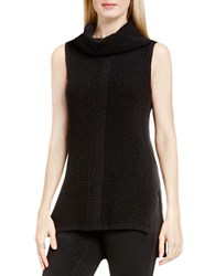 Vince Camuto Sleeveless Cable Stitch Sweater Rich Black