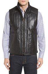 Missani Le Collezioni Men's Puffy Leather And Wool Blend Reversible Vest