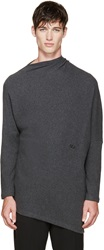 Thamanyah Grey Draped Brushed Cotton Sweater