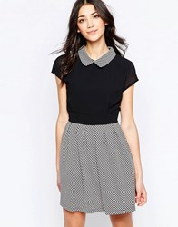 Wal G Skater Dress With Collar Black