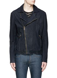 Scotch And Soda Asymmetrical Zip Front Nubuck Leather Jacket Blue