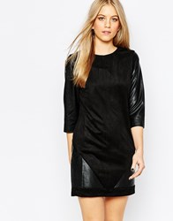 Vero Moda Shift Dress With Leather Look Sleeves Black