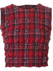 Ermanno Scervino Creased Plaid Crop Top Red