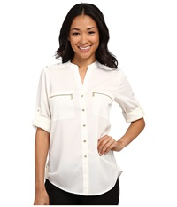 Calvin Klein Zipper Roll Poly Cdc Sleeve Soft White Women's Blouse