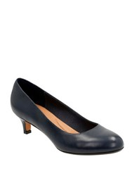 Clarks Heavenly Shine Leather Pumps Navy Blue