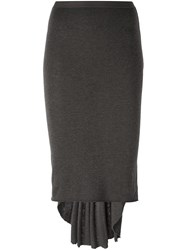 Rick Owens Lilies Back Pleated Skirt Grey