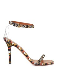 Valentino Hand Painted Leather Sandals Multi