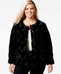 Junarose Plus Size Faux Fur Swirl Coat Black