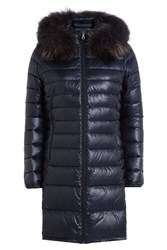Duvetica Quilted Down Jacket With Fur Trim Blue