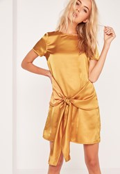 Missguided Tie Front Bottom Shift Dress Gold Gold