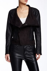 Tov Pleated Asymmetrical Faux Leather Jacket Black