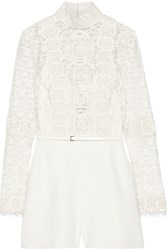 Elie Saab Embellished Cotton Blend Guipure Lace And Crepe Playsuit Ivory