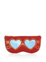 Rebecca Minkoff Heart Sunnies Leather Sunglass Pouch Deep Red