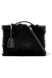 Mark Cross Grace Small Shearling Paneled Leather Shoulder Bag Black